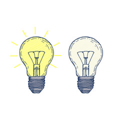 Two hand drawn light bulbs. Sketch with simple lamps. Creative icons