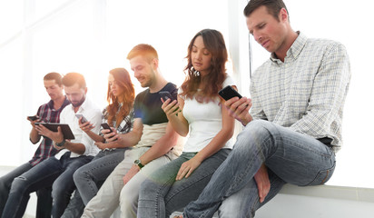 business team using a mobile device