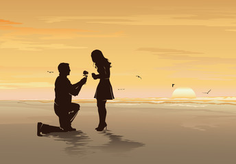Silhouette of young man with rose proposing to his beloved on the sea beach, Romantic date, Wedding and Valentines day concept - Vector illustration