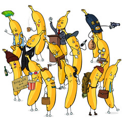 Vector Set of Different Banana Characters.