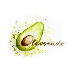 Green watercolour avocado with seed and hand-lettered note