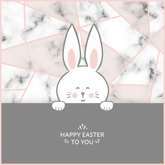 Easter bunny card with marble background