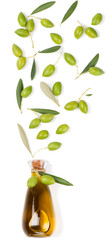 Wall Mural - Bottle with olive oil and  olives.