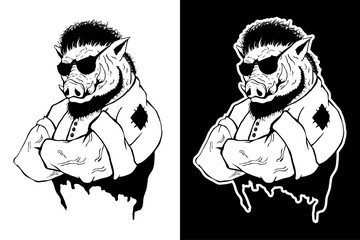 Isolated vector illustration a strong wild boar - man.