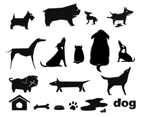 Silhouettes stencils funny dogs of different breeds. Outline symbols icons. Vector graphics.