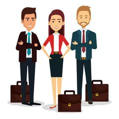 group of businespeople with portfolio teamwork vector illustration design