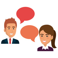 group of businespeople with speech bubble teamwork vector illustration design