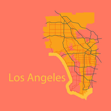 Los Angeles map. Flat style design
