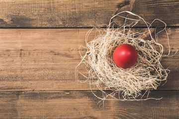 Easter eggs in the nest on wooden background