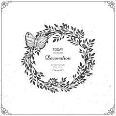 Set of beautiful wreath isolated on white background. Vector template with flourishes ornament elements.