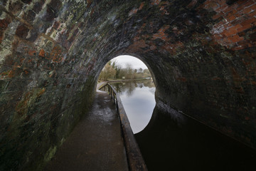 Inside the Chirk canal tunnel in North East Wales UK built in 1801