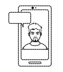 dotted shape elegant man inside smartphone with chat bubble