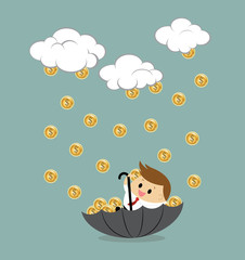 Vector of businessman sitting in umbrella to collect money rain.
