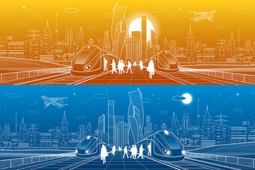Transport panorama. Trains ride on railroad. Passengers at station. Urban infrastructure, modern city on background, industrial architecture. White lines, town scene, day and night. Vector design art