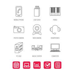 Photo camera, headphones and Usb flash icons.