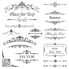 Vintage floral dividers vector set.
