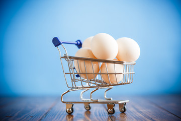 shopping cart full with eggs