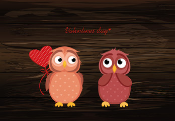 Owlet Cute boy wants to give heart to the Valentine's Day gift