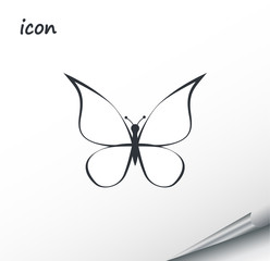Vector icon butterfly on a wrapped silver sheet