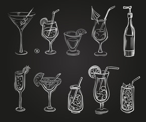 Vector set of cocktail glasses in the style of chalk on a blackboard