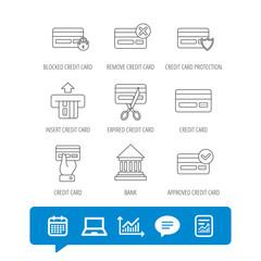 Bank credit card icons. Banking signs.