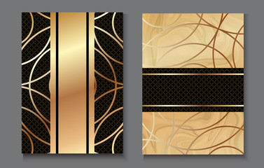 Brochure or vip packaging design set, luxury wrap paper template or background in trendy geometric style, with marble texture, gold rose metal, frame, vector fashion wallpaper, poster, gift box