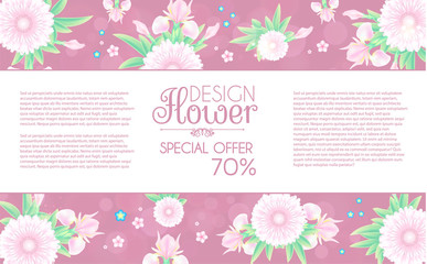 Flower Card. Cute Card Design Template for Birthday, Anniversary, Wedding, Baby and Bride Shower and so on.