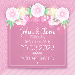 Happy Wedding Day Greeting Card Template. Cute and Soft Floser Design Template. Birthday, Women's Day, Anniversary and so on.