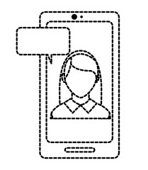 dotted shape woman faceless inside smartphone with chat bubble