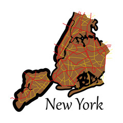 New York City Map - flat illustration