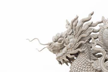 Chinese dragon head statue isolated on white background