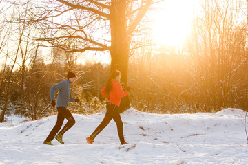 Picture of sports man and woman on morning run