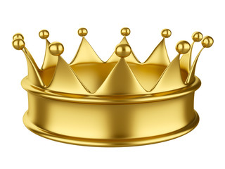 Shiny gold crown isolated on white background