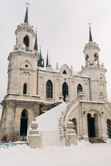 Images of Catholic church on winter