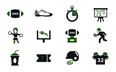 american football simple vector icons in two colors