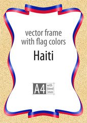 Frame and border of ribbon with the colors of the Haiti flag, template elements for your certificate and diploma. Vector, with bleed three mm.