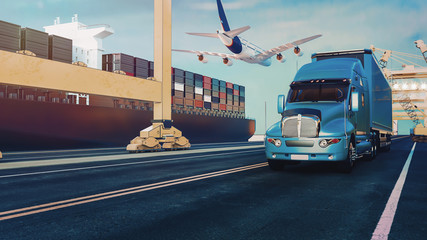 Wall Mural - Plane trucks are flying towards the destination with the brightest.