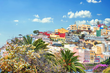 Cityscape with colorful houses in residential district of Las Palmas. Gran Canaria, Spain Wall mural