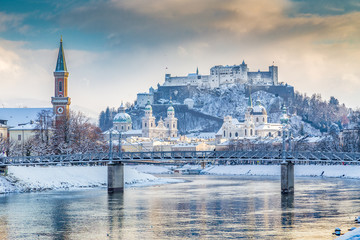 Historic city of Salzburg at sunset in winter, Austria