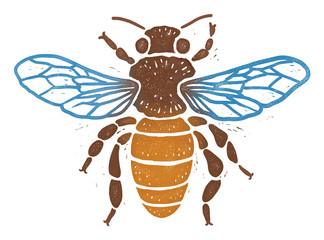 Bee linocut illustration, isolated on white with clipping path