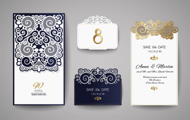 Wedding invitation or greeting card with gold floral ornament. Wedding invitation envelope for laser cutting.