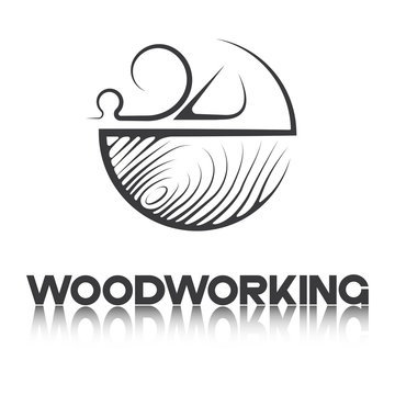 """an illustration consisting of an image of a planer plowing a tree and the inscription """"woodworking"""""""