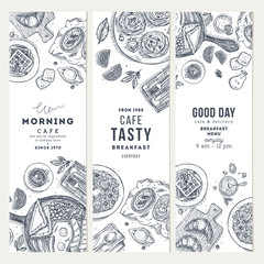 Breakfast vertical banner collection. Various food background. Engraved style illustration. Hero image. Vector illustration