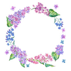 Watercolor floral spring round frame