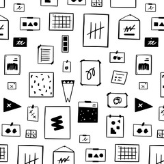 Hand drawn vector illustration of Inspiration wall art pattern on white background.mood board.Creative Workspace wall.