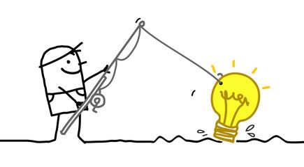 Cartoon Man Fishing a New Fresh Idea