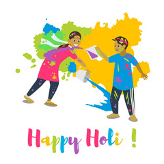 Children playing holi .Happy holi festival greeting card and vector design.