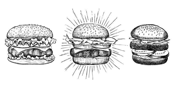 Vector vintage burger drawing.