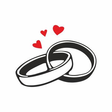Wedding rings. vector icon