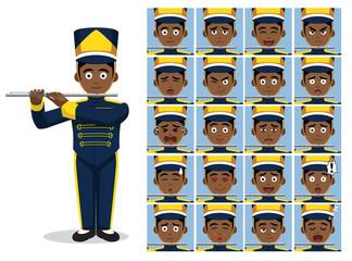Marching Band Flute Cartoon Emotion faces Vector Illustration